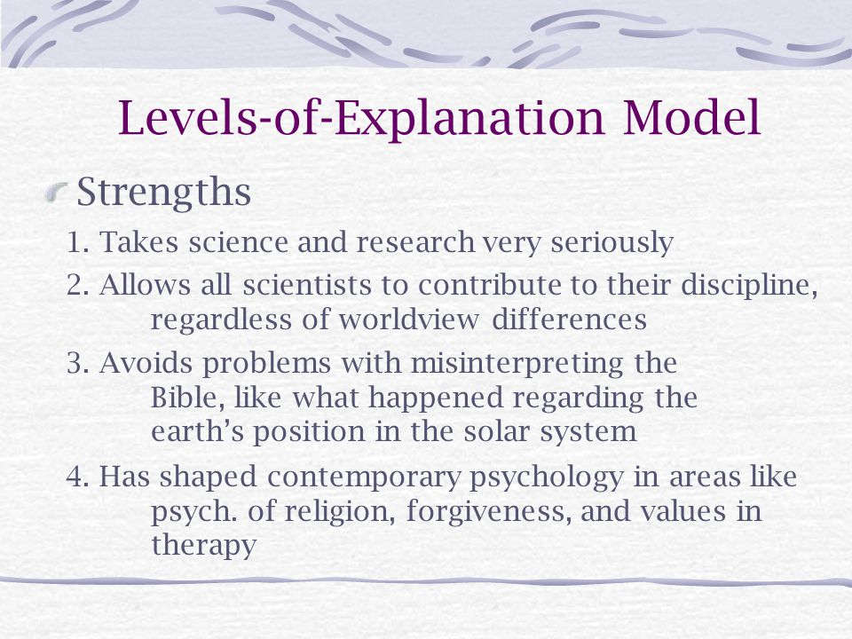 Levels-of-Explanation Model Strengths 2.