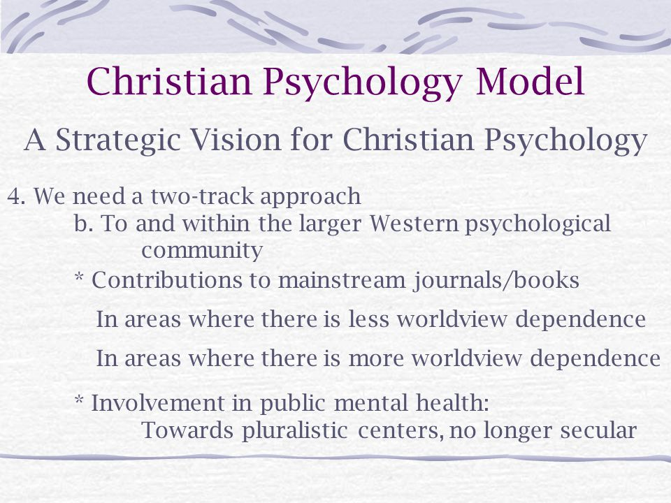 Christian Psychology Model A Strategic Vision for Christian Psychology 4.