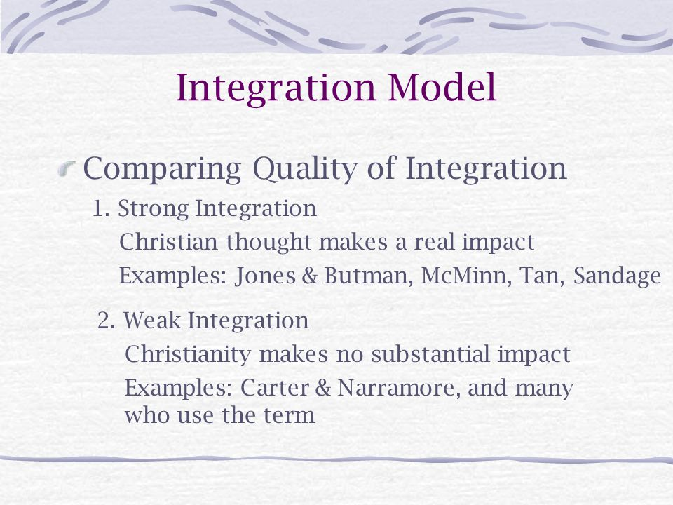 Integration Model Comparing Quality of Integration 1.