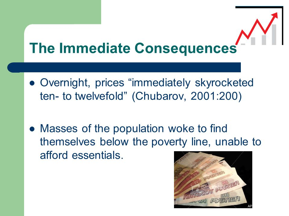 The Immediate Consequences  Overnight, prices immediately skyrocketed ten- to twelvefold (Chubarov, 2001:200)  Masses of the population woke to find themselves below the poverty line, unable to afford essentials.