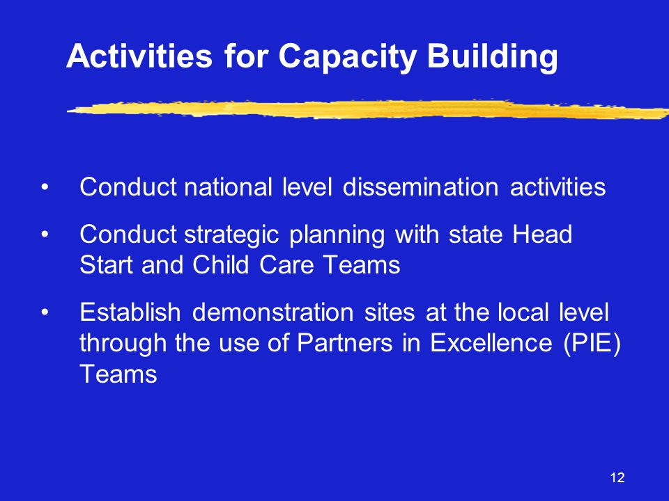 12 Activities for Capacity Building •Conduct national level dissemination activities •Conduct strategic planning with state Head Start and Child Care Teams •Establish demonstration sites at the local level through the use of Partners in Excellence (PIE) Teams