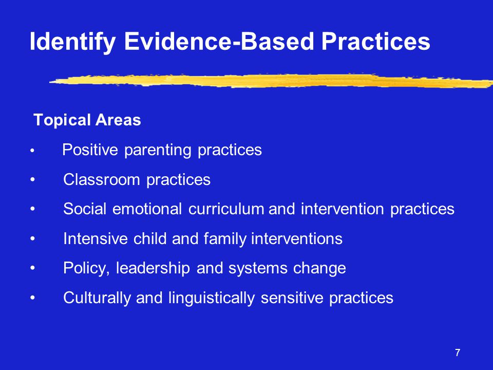 7 Identify Evidence-Based Practices Topical Areas • Positive parenting practices • Classroom practices • Social emotional curriculum and intervention practices • Intensive child and family interventions • Policy, leadership and systems change • Culturally and linguistically sensitive practices
