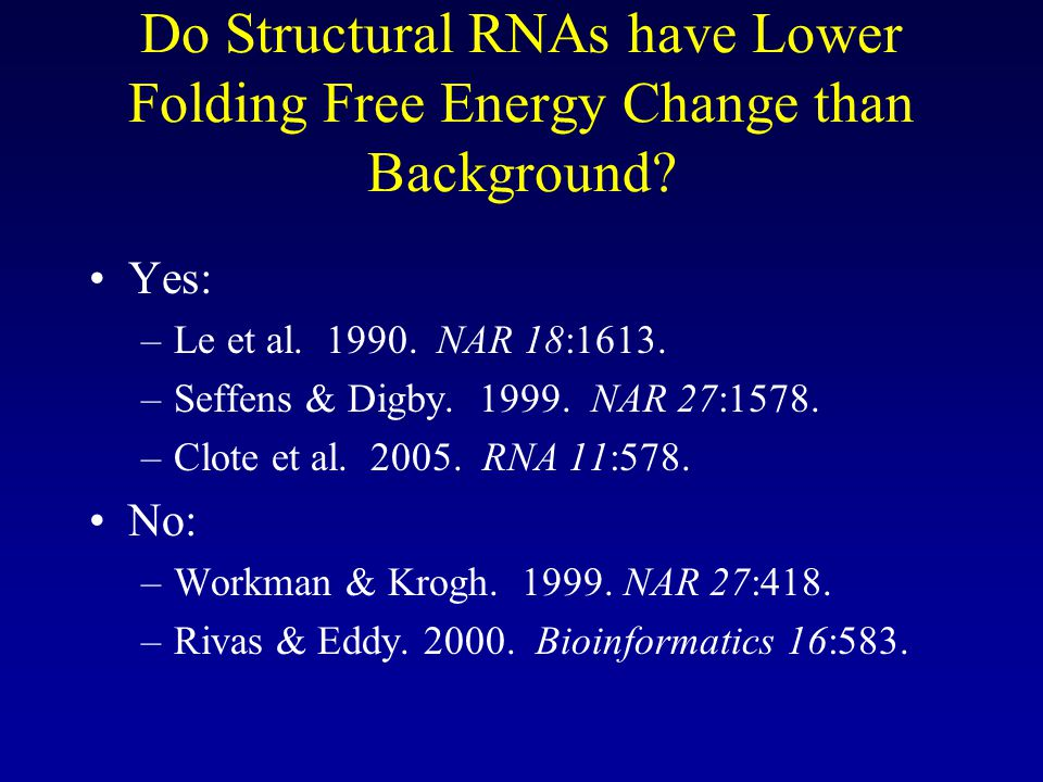 Do Structural RNAs have Lower Folding Free Energy Change than Background.