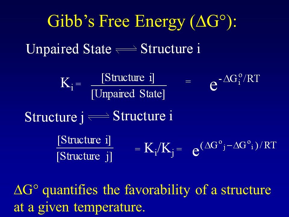 Gibb's Free Energy (  G°): K i = = = K i /K j =  G° quantifies the favorability of a structure at a given temperature.