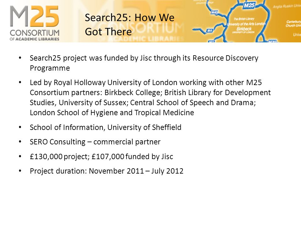 E-BASS25 • Data associated with Search25 is mainly 'small release' bibliographic data for download and re-use e.g.