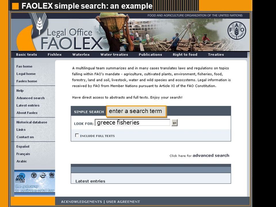 FAOLEX simple search: an example 2 enter a search term greece fisheries