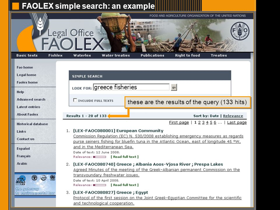 FAOLEX simple search: an example 3 greece fisheries these are the results of the query (133 hits)