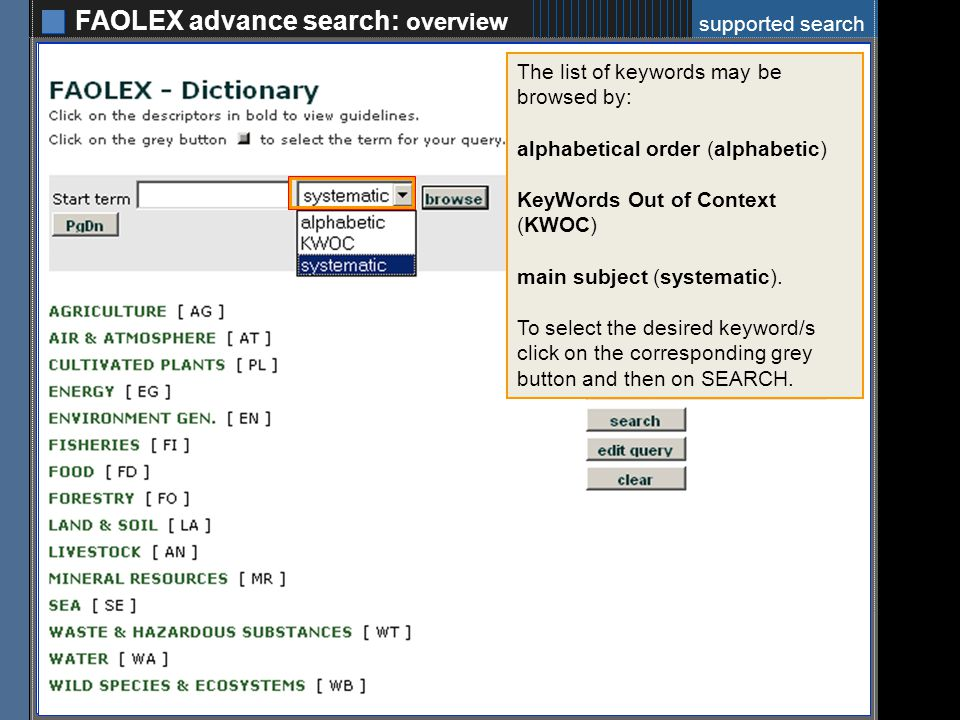 FAOLEX advance search: example 9 RUSSIAN FEDERATION 2007 exclude: Repealed legislation excluded: Superseded legislation type of text: Legislation LAND & SOIL