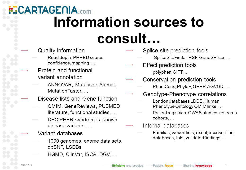Information sources to consult… Quality information Read depth, PHRED scores, confidence, mapping, … Protein and functional variant annotation ANNOVAR