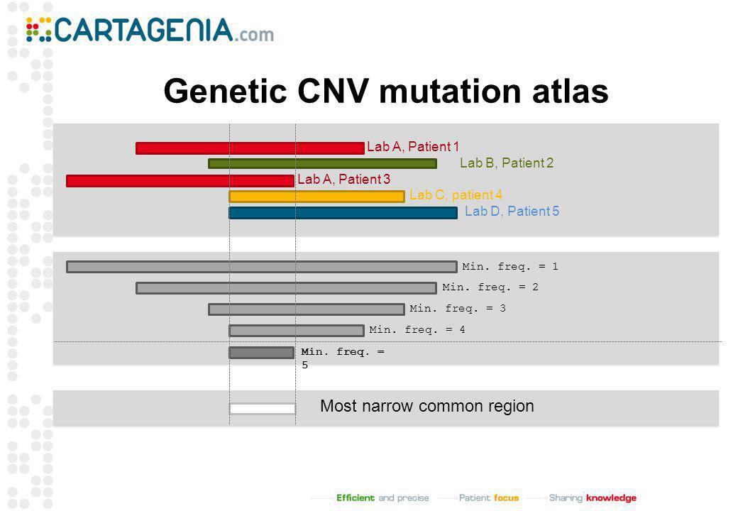 Genetic CNV mutation atlas Min. freq. = 1 Min. freq. = 2 Min. freq. = 3 Min. freq. = 4 Min. freq. = 5 Most narrow common region Lab A, Patient 1 Lab C