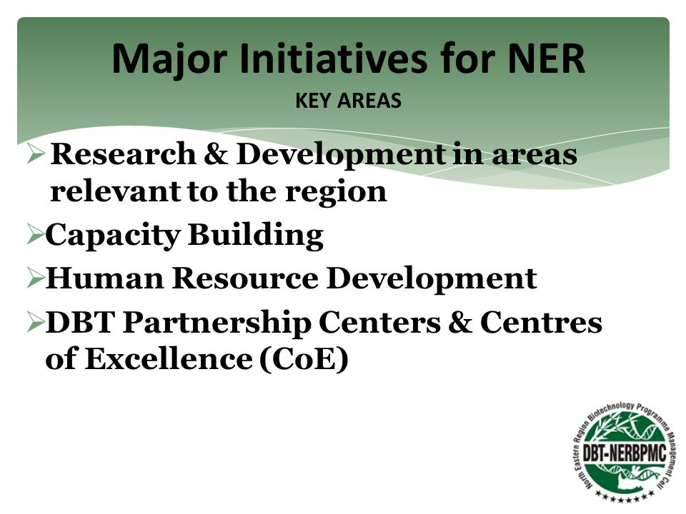  Research & Development in areas relevant to the region  Capacity Building  Human Resource Development  DBT Partnership Centers & Centres of Excellence (CoE) Major Initiatives for NER KEY AREAS
