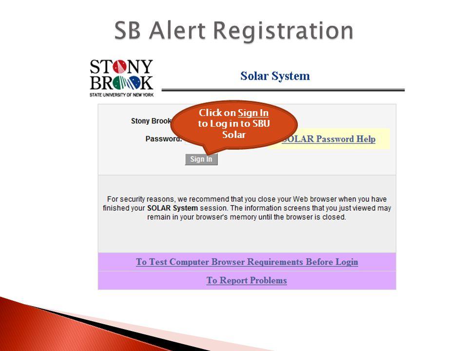 Click on SB Alert - Registration