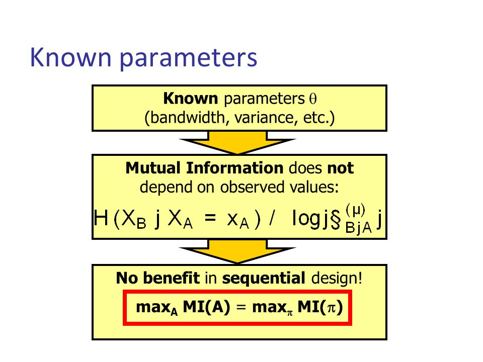 Known parameters Known parameters  (bandwidth, variance, etc.) No benefit in sequential design.