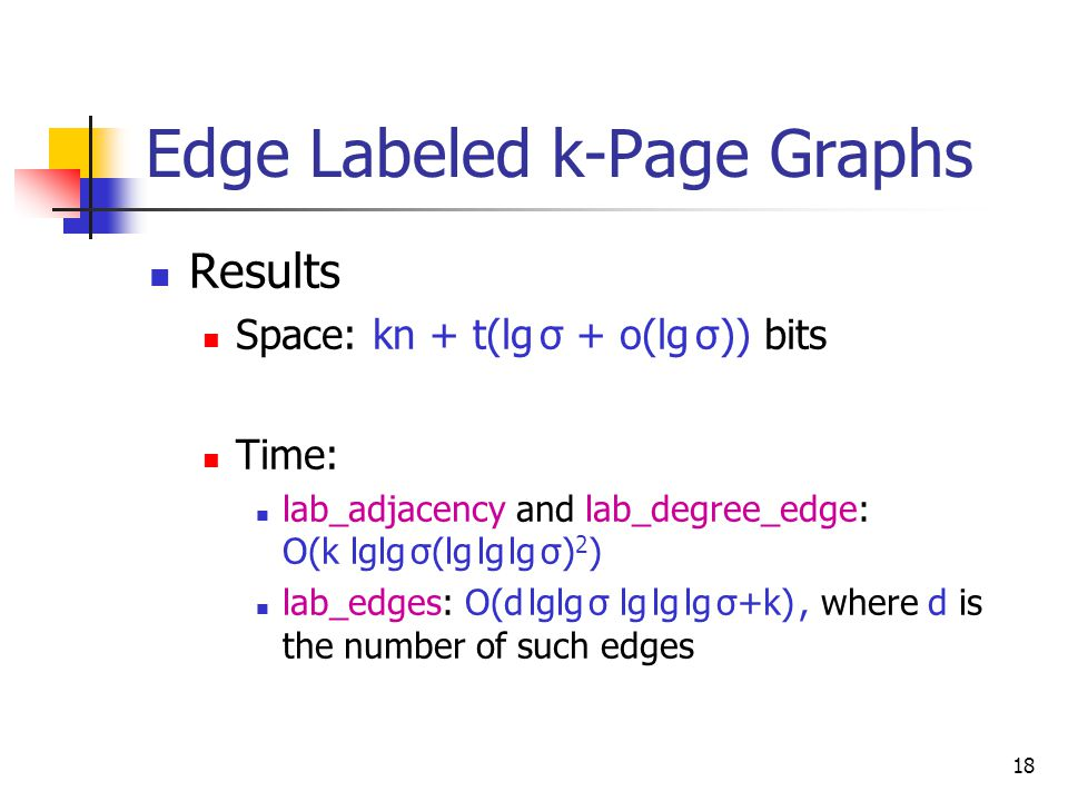 18 Edge Labeled k-Page Graphs  Results  Space: kn + t(lg σ + o(lg σ)) bits  Time:  lab_adjacency and lab_degree_edge: O(k lglg σ(lg lg lg σ) 2 )  lab_edges: O(d lglg σ lg lg lg σ+k), where d is the number of such edges