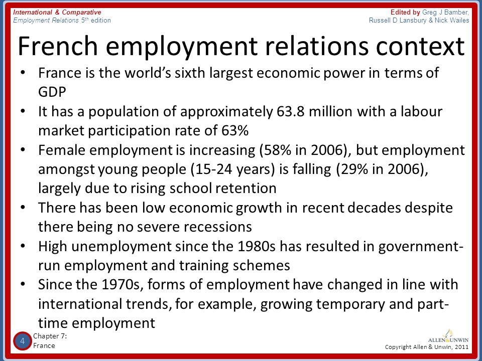 25 Chapter 7: France International & Comparative Employment Relations 5 th edition Edited by Greg J Bamber, Russell D Lansbury & Nick Wailes Copyright Allen & Unwin, 2011 Industrial disputes • The right to strike is guaranteed by the French Constitution, with qualifications • Since 1963, public sector unions have been required to give 5 days notice before a strike.