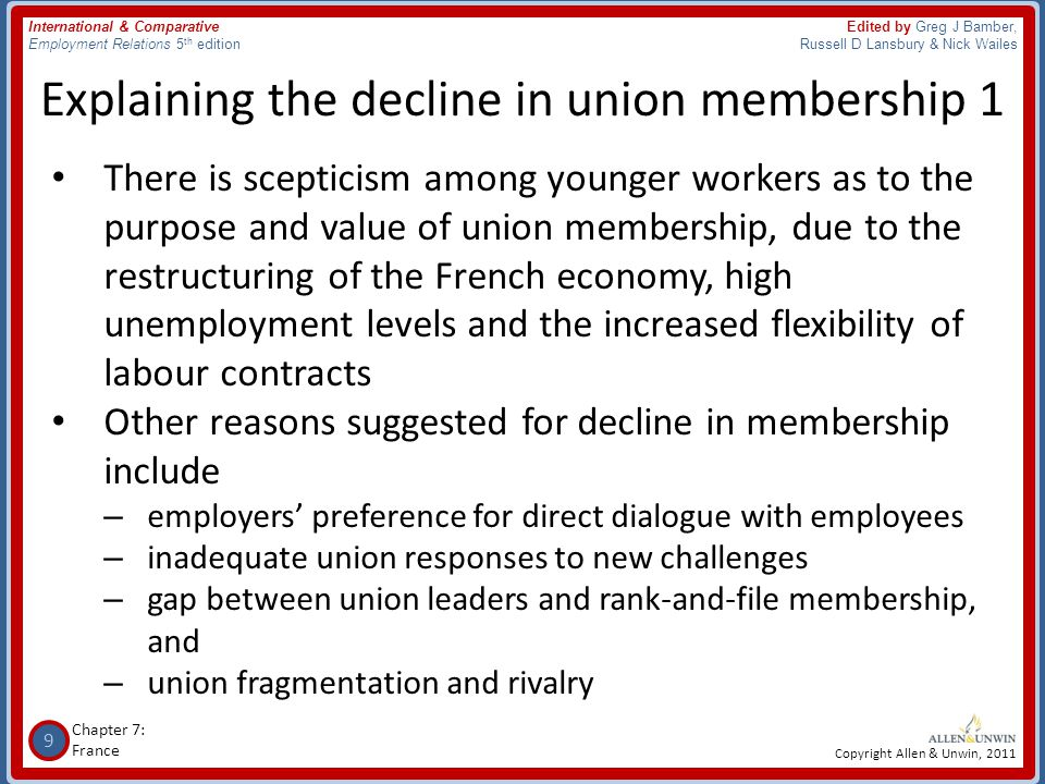 10 Chapter 7: France International & Comparative Employment Relations 5 th edition Edited by Greg J Bamber, Russell D Lansbury & Nick Wailes Copyright Allen & Unwin, 2011 Explaining the decline in union membership 2 • Broader support for the union movement has declined for following reasons: 1.Closed shop practices have been prohibited 2.French unions traditionally favoured 'militancy' (fostering strikes and supporting political action) rather than recruiting a stable mass membership, becoming bureaucracies, and engaging in collective bargaining 3.All wage earners benefit from union wins, even if not they are not union members 4.No specific welfare benefits accrue to French union members as they do in other countries 5.Employers often oppose any extension of union influence, however this practice has slowly changed over time 6.The fragmentation of unions on ideological and political grounds hampered recruitment and retention of members