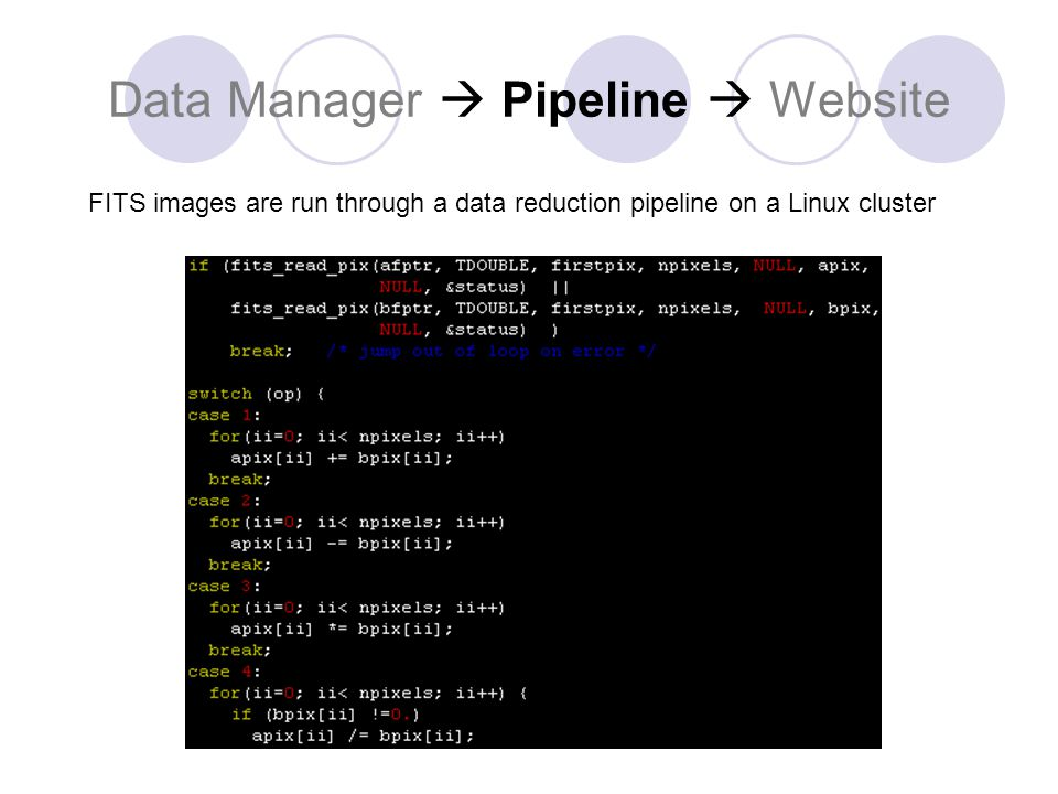 Data Manager  Pipeline  Website FITS images are run through a data reduction pipeline on a Linux cluster