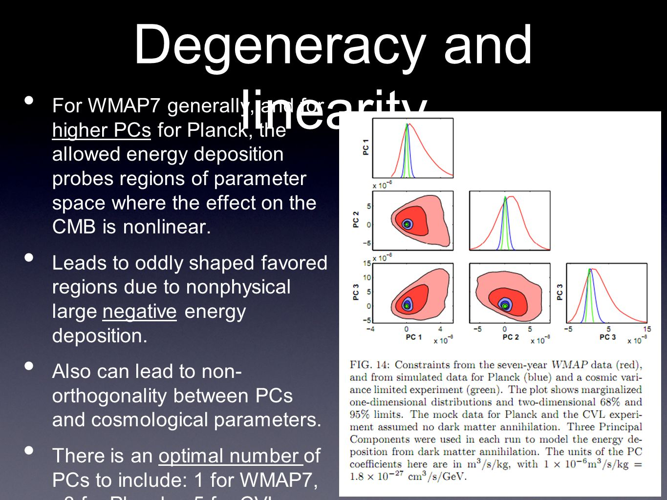 Degeneracy and linearity • For WMAP7 generally, and for higher PCs for Planck, the allowed energy deposition probes regions of parameter space where the effect on the CMB is nonlinear.