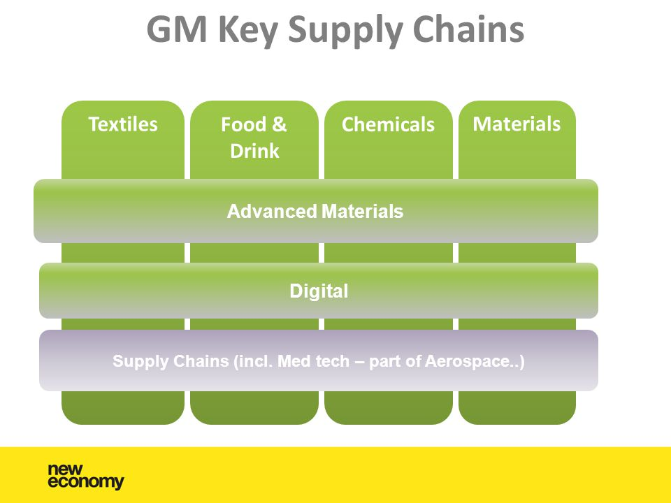 GM Key Supply Chains Textiles Food & Drink Chemicals Materials Advanced Materials Digital Supply Chains (incl.