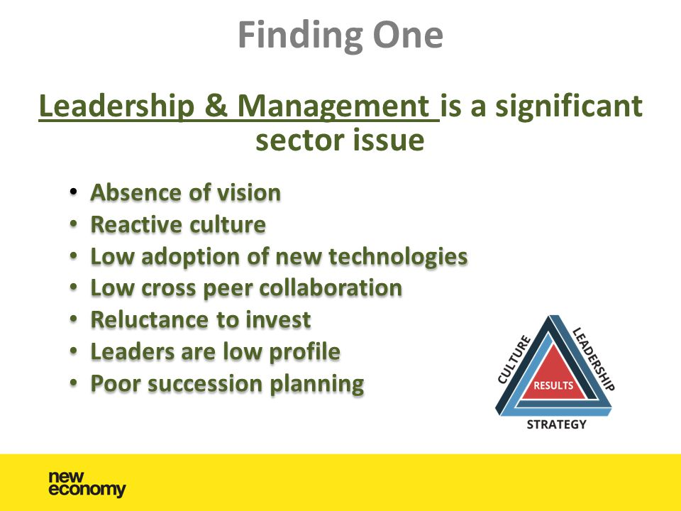 Finding One Leadership & Management is a significant sector issue • Absence of vision • Reactive culture • Low adoption of new technologies • Low cross peer collaboration • Reluctance to invest • Leaders are low profile • Poor succession planning • Absence of vision • Reactive culture • Low adoption of new technologies • Low cross peer collaboration • Reluctance to invest • Leaders are low profile • Poor succession planning