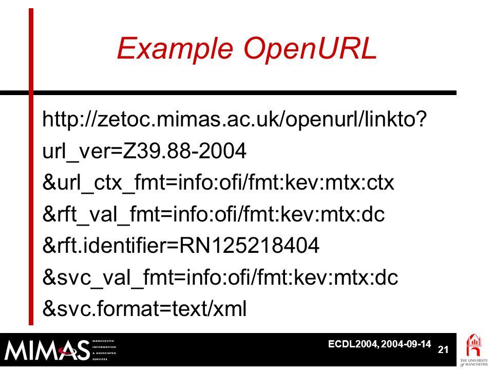 ECDL2004, 2004-09-14 21 Example OpenURL http://zetoc.mimas.ac.uk/openurl/linkto? url_ver=Z39.88-2004 &url_ctx_fmt=info:ofi/fmt:kev:mtx:ctx &rft_val_fm