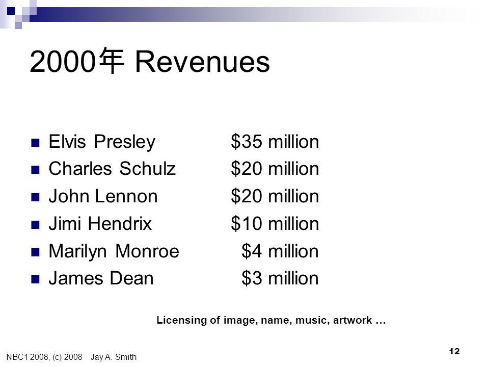 NBC1 2008, (c) 2008 Jay A. Smith 12 2000 年 Revenues Died  Elvis Presley $35 million 1977  Charles Schulz $20 million 2000  John Lennon $20 million