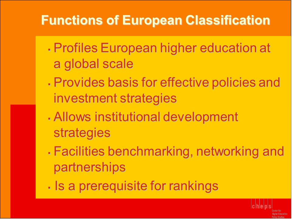  Profiles European higher education at a global scale Functions of European Classification  Provides basis for effective policies and investment str