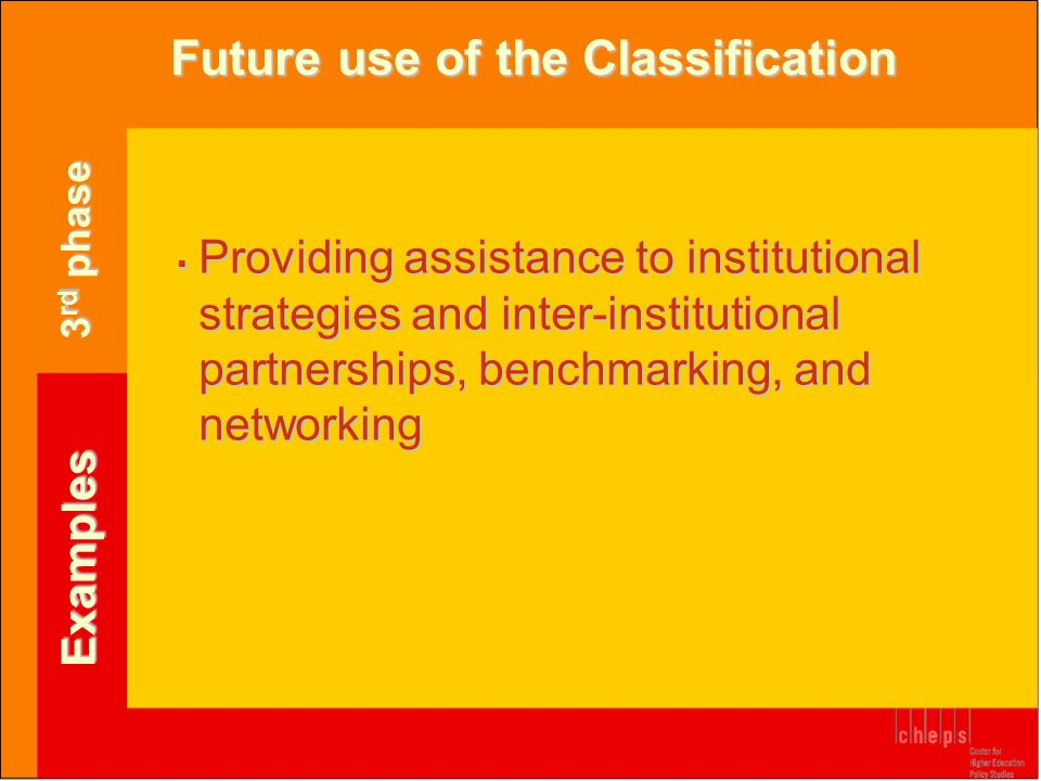 Future use of the Classification Examples  Providing assistance to institutional strategies and inter-institutional partnerships, benchmarking, and n