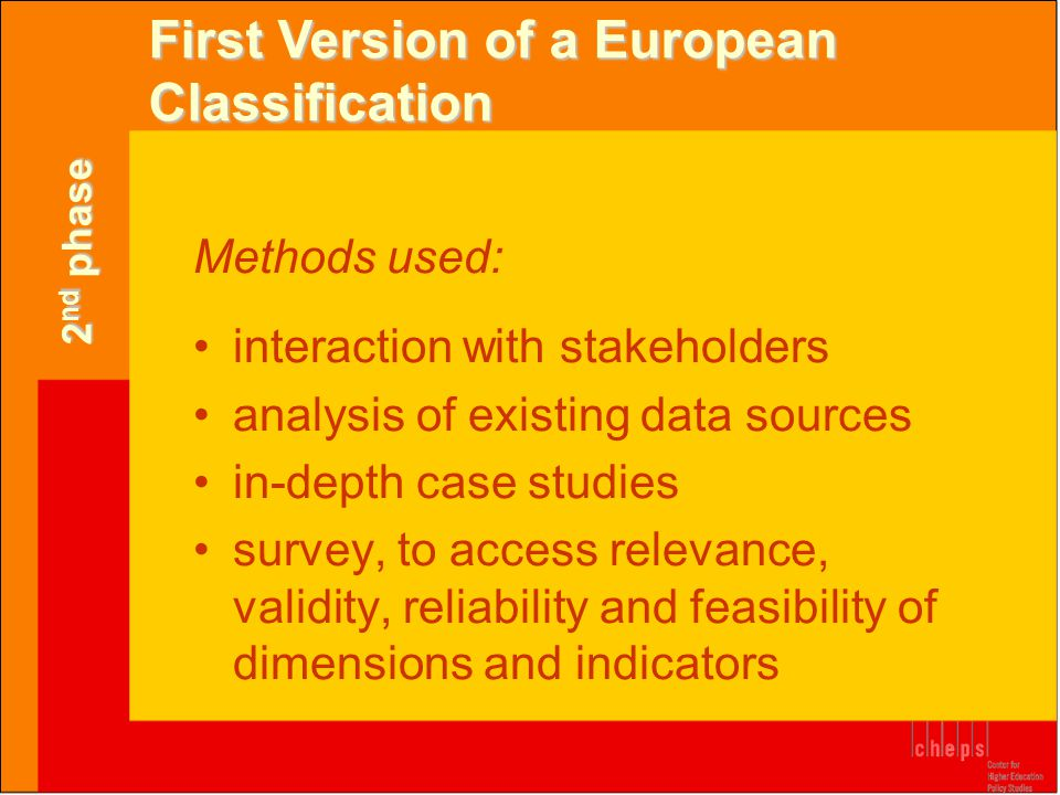 First Version of a European Classification Methods used: •interaction with stakeholders •analysis of existing data sources •in-depth case studies •sur