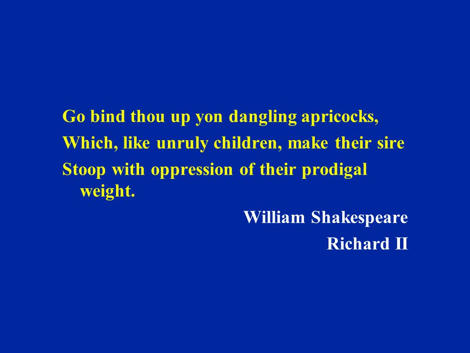 Go bind thou up yon dangling apricocks, Which, like unruly children, make their sire Stoop with oppression of their prodigal weight. William Shakespea