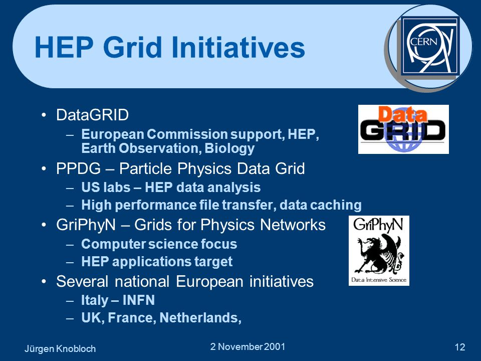 Jürgen Knobloch 2 November 2001 12 HEP Grid Initiatives •DataGRID –European Commission support, HEP, Earth Observation, Biology •PPDG – Particle Physics Data Grid –US labs – HEP data analysis –High performance file transfer, data caching •GriPhyN – Grids for Physics Networks –Computer science focus –HEP applications target •Several national European initiatives –Italy – INFN –UK, France, Netherlands,