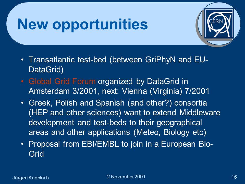 Jürgen Knobloch 2 November 2001 16 New opportunities •Transatlantic test-bed (between GriPhyN and EU- DataGrid) •Global Grid Forum organized by DataGr