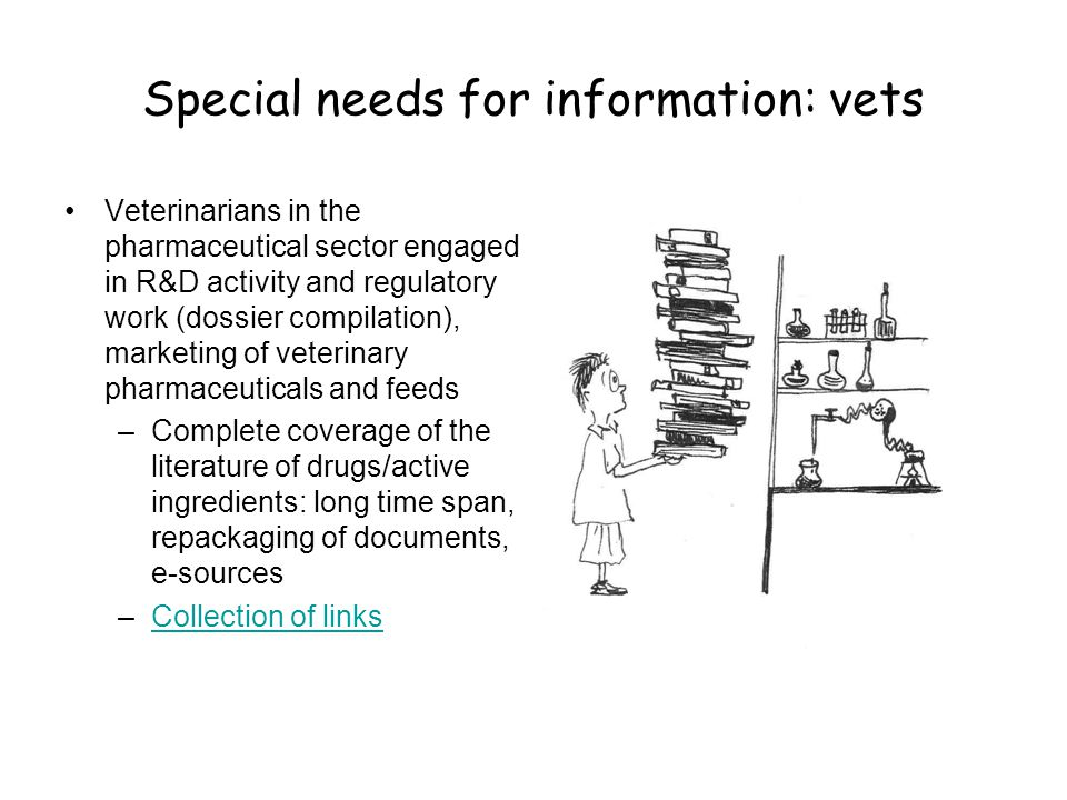 Special needs for information: vets •Veterinarians in the pharmaceutical sector engaged in R&D activity and regulatory work (dossier compilation), marketing of veterinary pharmaceuticals and feeds –Complete coverage of the literature of drugs/active ingredients: long time span, repackaging of documents, e-sources –Collection of linksCollection of links