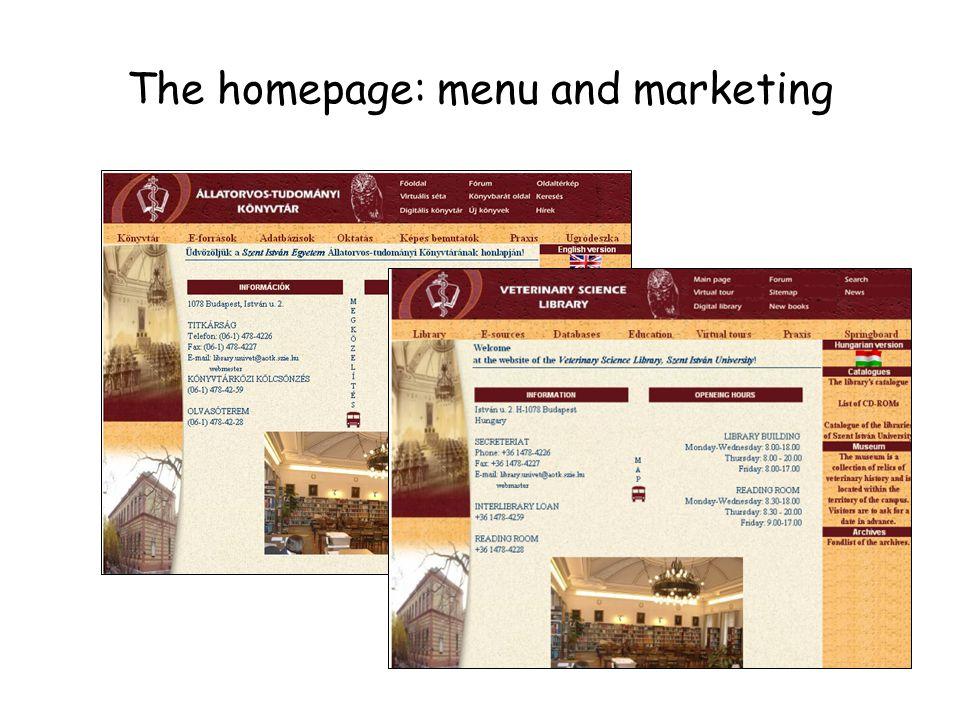 The homepage: menu and marketing