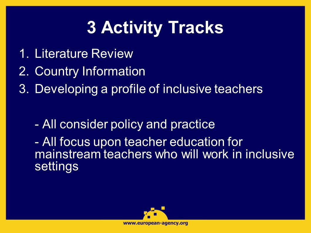 3 Activity Tracks 1.Literature Review 2.Country Information 3.Developing a profile of inclusive teachers - All consider policy and practice - All focus upon teacher education for mainstream teachers who will work in inclusive settings