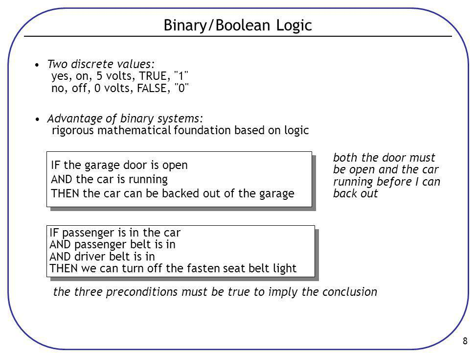 8 Binary/Boolean Logic • Two discrete values: yes, on, 5 volts, TRUE, 1 no, off, 0 volts, FALSE, 0 • Advantage of binary systems: rigorous mathematical foundation based on logic the three preconditions must be true to imply the conclusion IF the garage door is open AND the car is running THEN the car can be backed out of the garage IF the garage door is open AND the car is running THEN the car can be backed out of the garage both the door must be open and the car running before I can back out IF passenger is in the car AND passenger belt is in AND driver belt is in THEN we can turn off the fasten seat belt light IF passenger is in the car AND passenger belt is in AND driver belt is in THEN we can turn off the fasten seat belt light