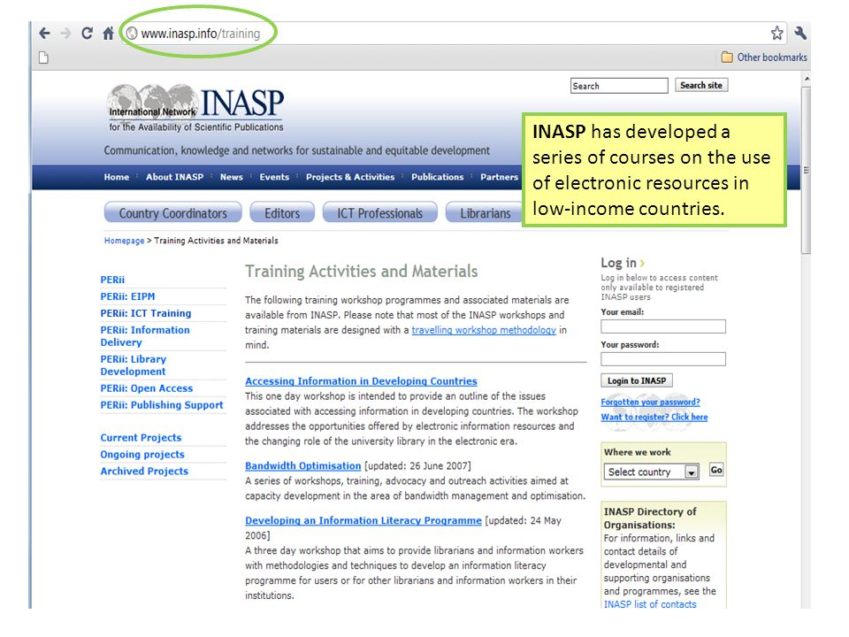 INASP has developed a series of courses on the use of electronic resources in low-income countries.