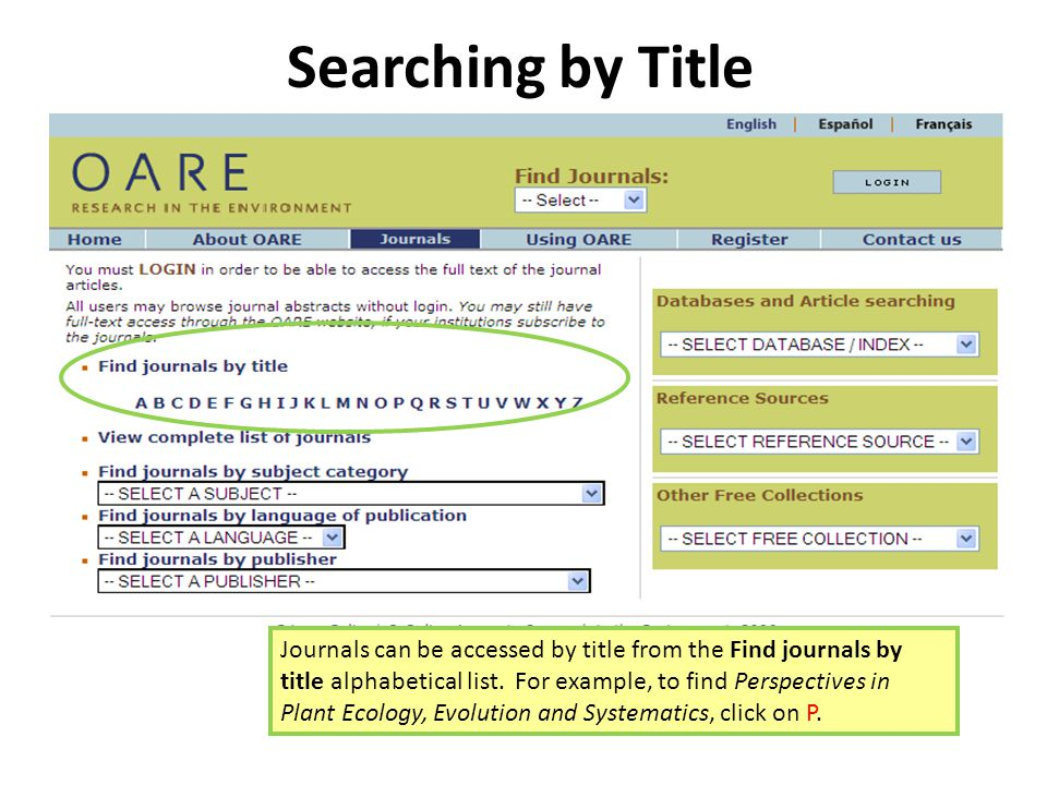 Searching by Title Journals can be accessed by title from the Find journals by title alphabetical list.
