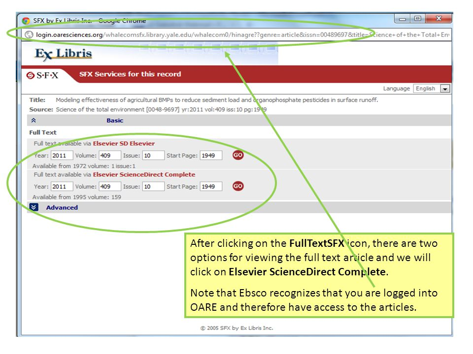 After clicking on the FullTextSFX icon, there are two options for viewing the full text article and we will click on Elsevier ScienceDirect Complete.