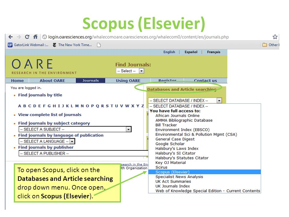 Scopus (Elsevier) To open Scopus, click on the Databases and Article searching drop down menu.