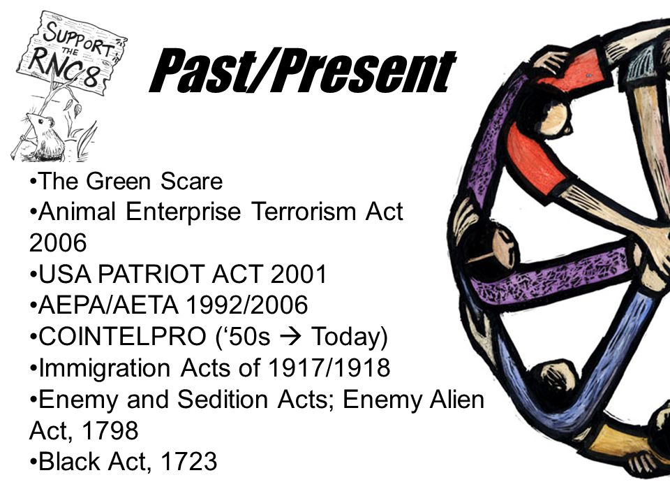 Past/Present •The Green Scare •Animal Enterprise Terrorism Act 2006 •USA PATRIOT ACT 2001 •AEPA/AETA 1992/2006 •COINTELPRO ('50s  Today) •Immigration Acts of 1917/1918 •Enemy and Sedition Acts; Enemy Alien Act, 1798 •Black Act, 1723