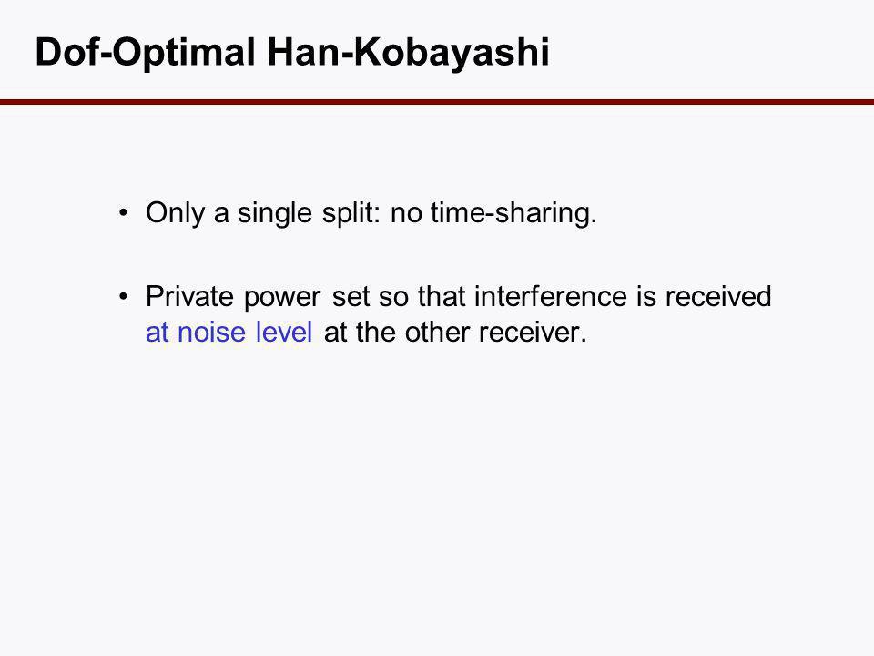 Dof-Optimal Han-Kobayashi •Only a single split: no time-sharing.