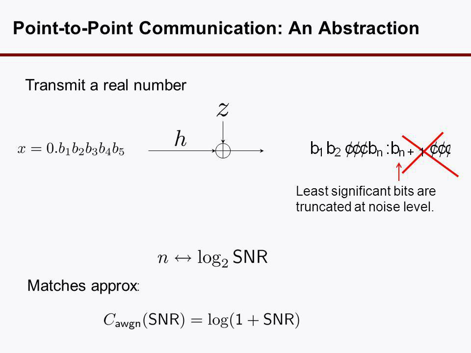 Point-to-Point Communication: An Abstraction Transmit a real number Least significant bits are truncated at noise level. Matches approx :