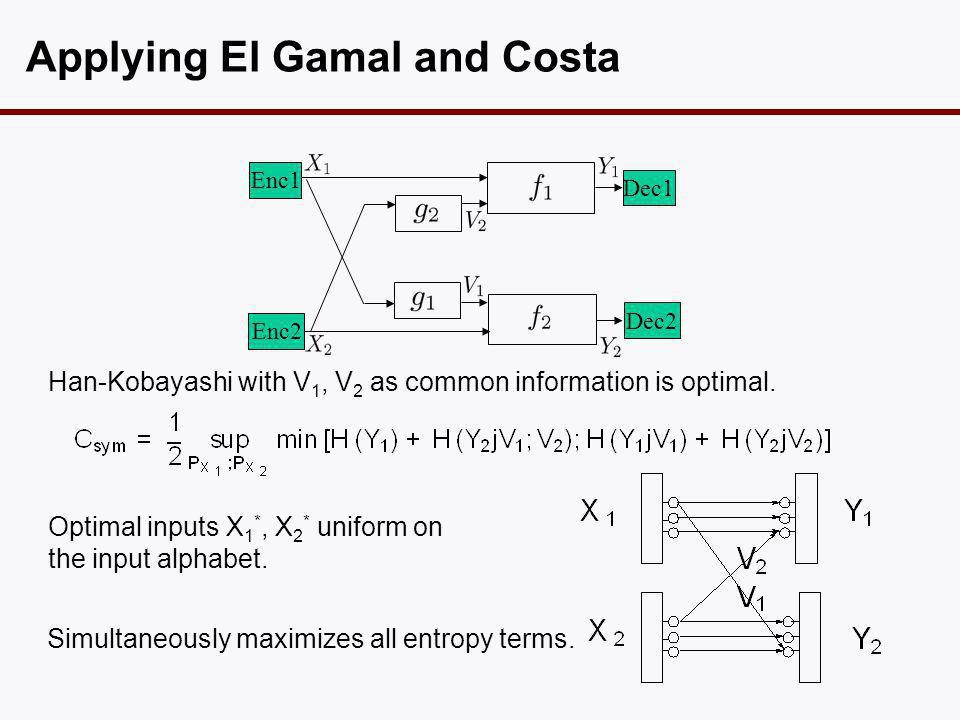 Applying El Gamal and Costa Han-Kobayashi with V 1, V 2 as common information is optimal.