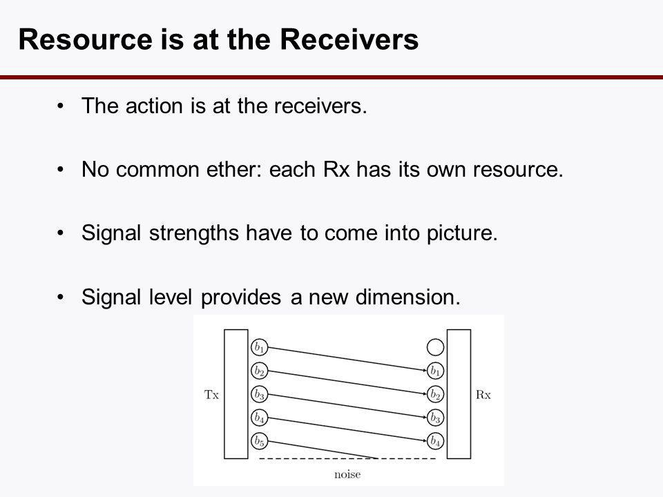 Resource is at the Receivers •The action is at the receivers. •No common ether: each Rx has its own resource. •Signal strengths have to come into pict