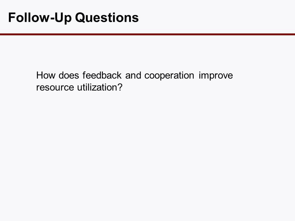 Follow-Up Questions How does feedback and cooperation improve resource utilization