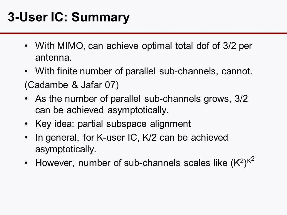 3-User IC: Summary •With MIMO, can achieve optimal total dof of 3/2 per antenna.