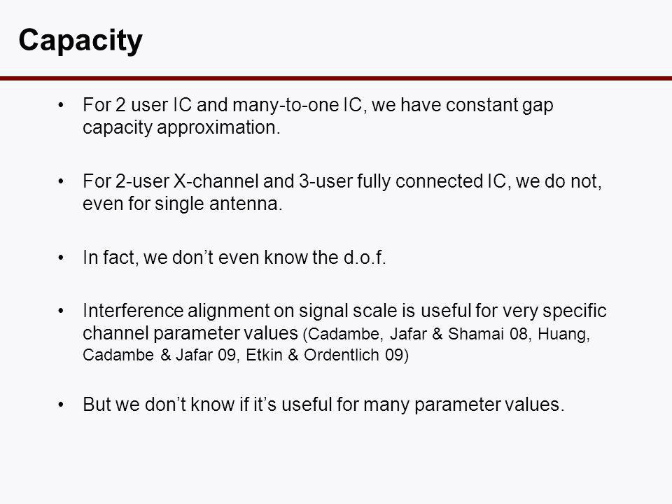 Capacity •For 2 user IC and many-to-one IC, we have constant gap capacity approximation. •For 2-user X-channel and 3-user fully connected IC, we do no