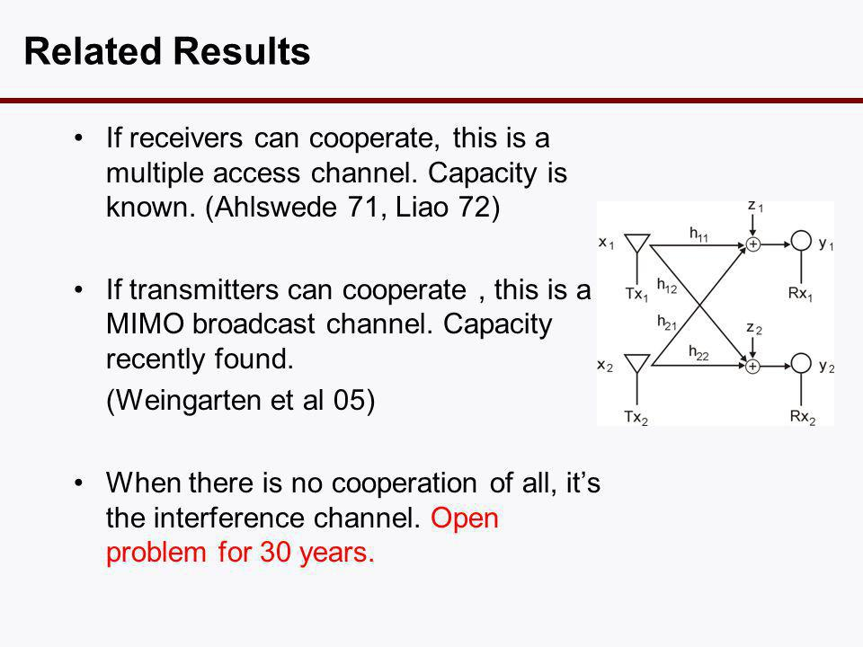 Related Results •If receivers can cooperate, this is a multiple access channel. Capacity is known. (Ahlswede 71, Liao 72) •If transmitters can coopera