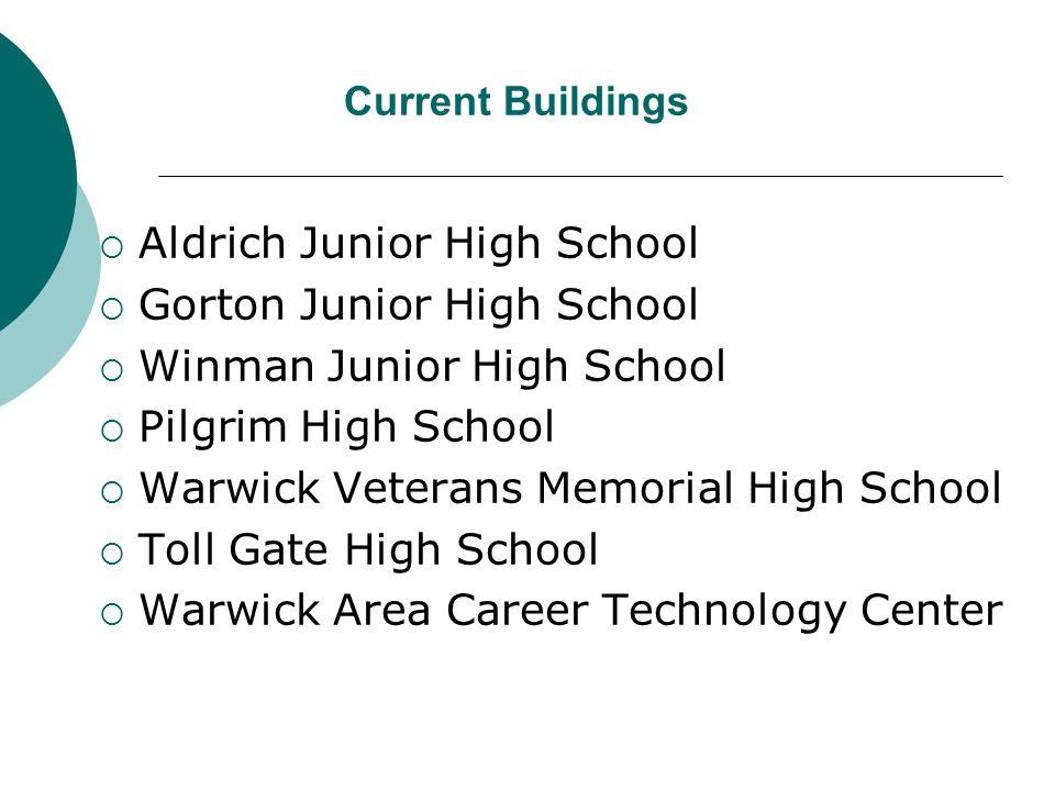 Current Buildings  Aldrich Junior High School  Gorton Junior High School  Winman Junior High School  Pilgrim High School  Warwick Veterans Memorial High School  Toll Gate High School  Warwick Area Career Technology Center